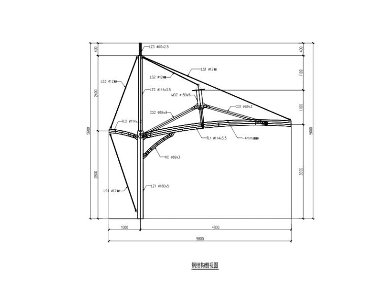 膜结构车棚施工图