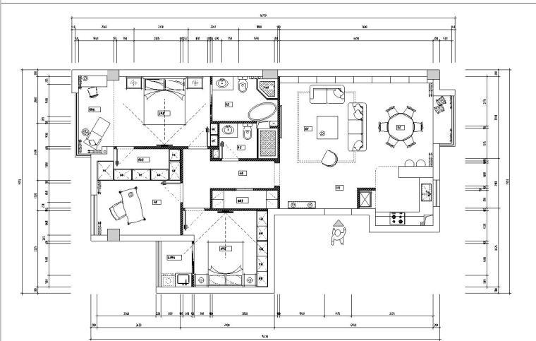 福泉小区样板房室内施工图设计(CAD+实景图)-住宅装修-土木资料网
