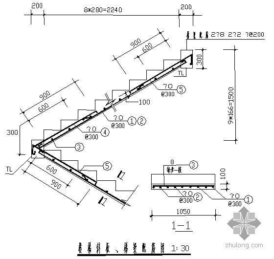 某楼梯斜板、梯梁配筋节点构造详图