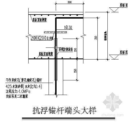 某建筑物筏板基础抗浮锚杆设计图