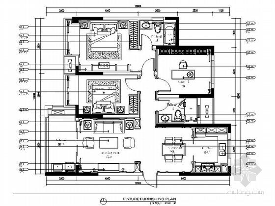 [江苏]115㎡法式新古典两室一厅装修CAD施工图(含效果图)