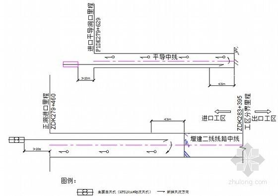 隧道进口正洞及进口平导工区压入式通风平面布置图