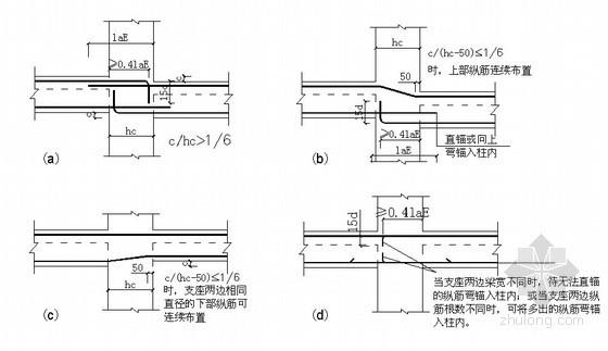 框柱两侧梁高宽不等时纵筋构造示意图