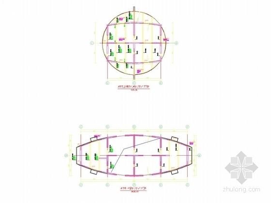 A塔楼小屋面~直升机停机坪核心筒结构平面图