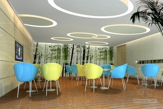 [杭州]社区综合性医疗卫生服务中心室内装修设计施工图(含效果)餐厅效果图