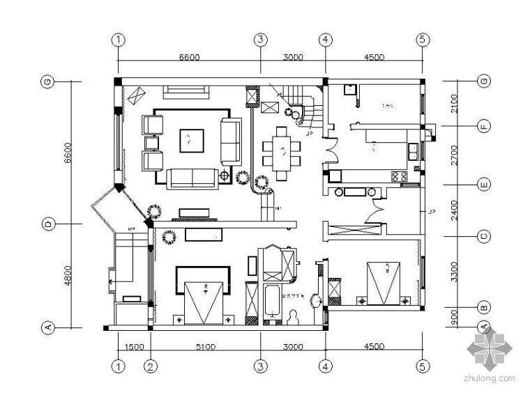 某别墅样板房D1户型装修图(含效果)