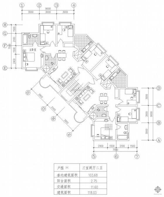 板式高层一梯两户三室二厅二卫户型图(118/118)