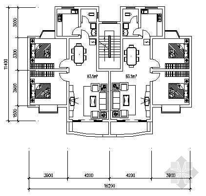 两室两厅一厨一卫83平米