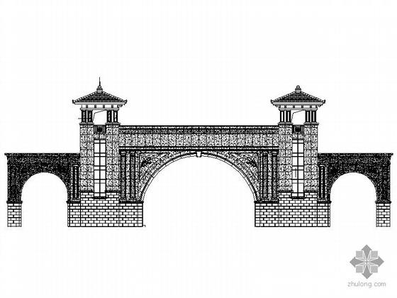 高档小区石材大门建筑施工图