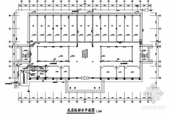 福建省某镇政府办公楼给排水平面图