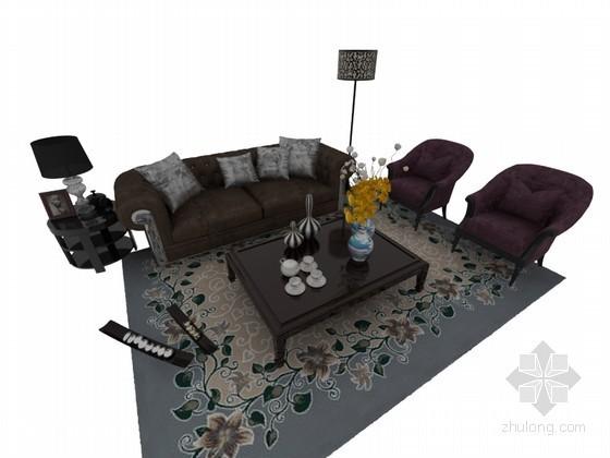 欧式时尚沙发3D模型下载