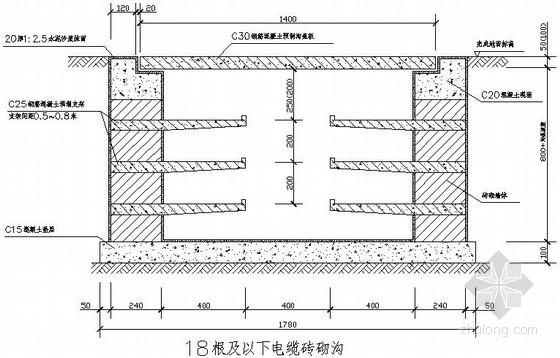 各种常见电缆砖砌沟大样图