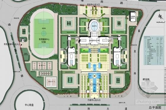 [江苏]时代标志性行政办公建筑设计方案文本-时代标志性行政办公建筑总平面图