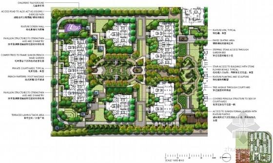[上海]法式园林风情住宅小区景观方案设计-花园平面图