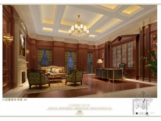 [苏州]奢华欧式风格商务会所六层董事区室内装修图(含效果) 书房立面