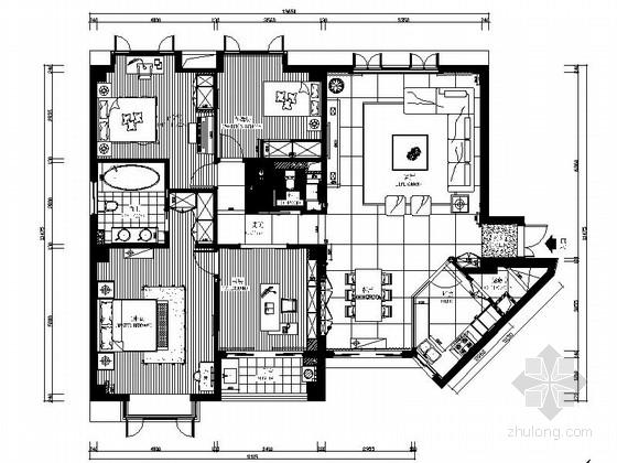 [广州]电梯洋房时尚现代四居室装修施工图