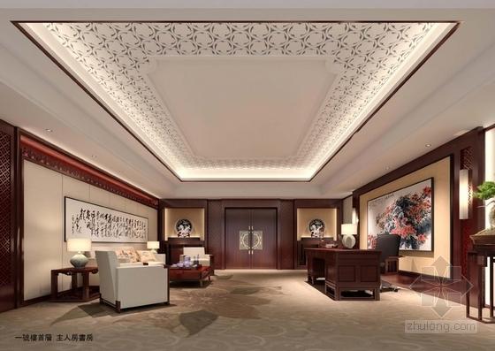 [广东]南方园林特色别墅宾馆改造概念性设计方案主人书房意向图