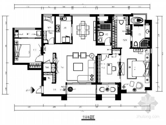 [福建]现代时尚风格四室两厅室内装修施工图(含效果)