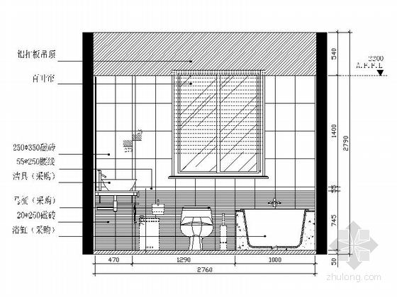 [广州]电梯洋房时尚现代四居室装修施工图卫生间立面图