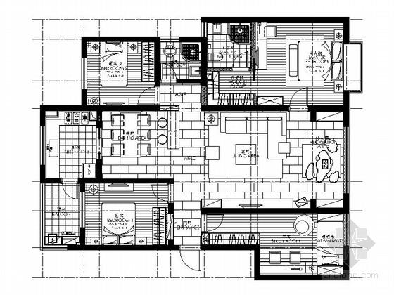 温馨浪漫现代风情四居室样板间CAD装修施工图(含效果)