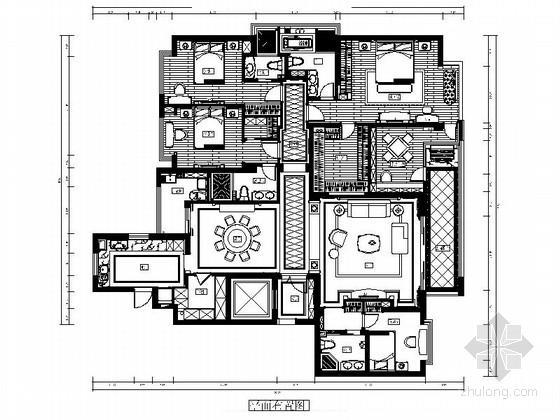 [四川]海景洋房欧式五居室样板房CAD施工图(含效果)