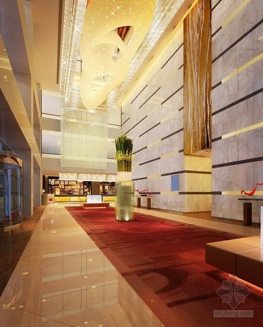 [四川]2.79亿夺标大厦改建四星级高档奢华酒店装修施工图(含方案)大堂效果图