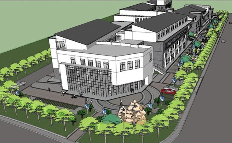 简中式邻里中心商业街建筑SU模型