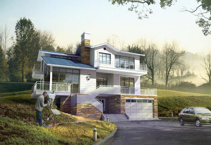 3层独栋别墅建筑文本设计(包含效果图+cad)