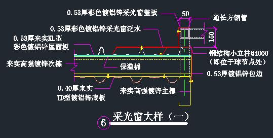钢结构天窗设计节点详图