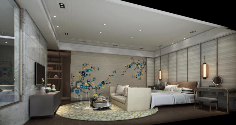 [深圳]现代中式奢华风样板房住宅设计施工图(含效果图+物料表)