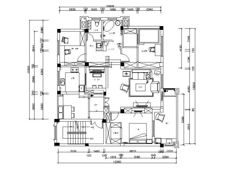 整套田园风格样板房设计CAD施工图(含效果图)