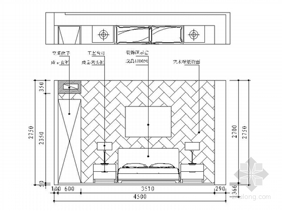 [宁波]姚江官邸雅致现代两居室装修施工图主卧立面图