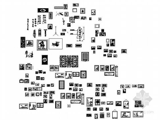 全套字画立面CAD图块下载资料图纸总缩略图