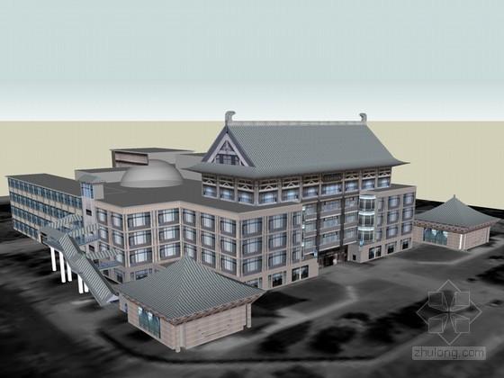 大气仿古建筑SketchUp模型下载