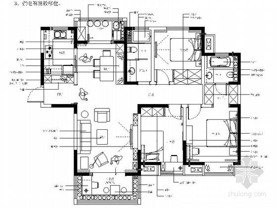 [河南]洋房小区简约现代风格三室两厅CAD装修施工图(含效果)