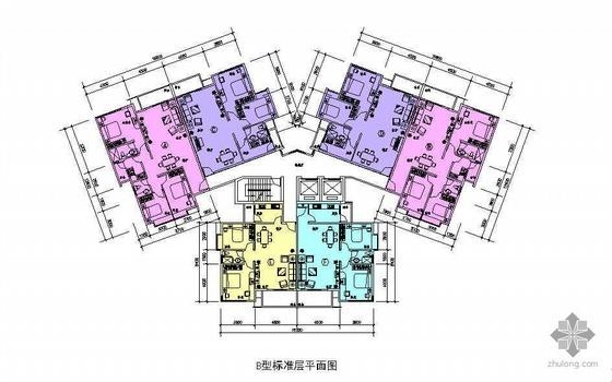 塔式多层一梯六户户型图(100/100/83/83/74/77)