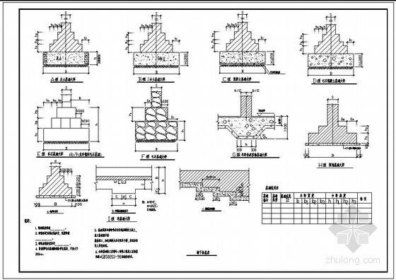某墙下条基表及节点构造详图