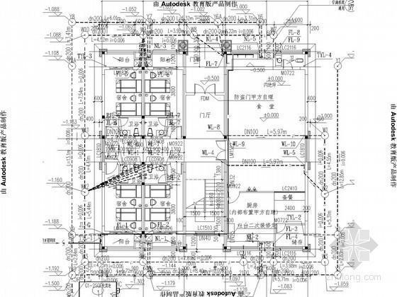 [广东]二层宿舍楼给排水施工图(餐厅、厨房)