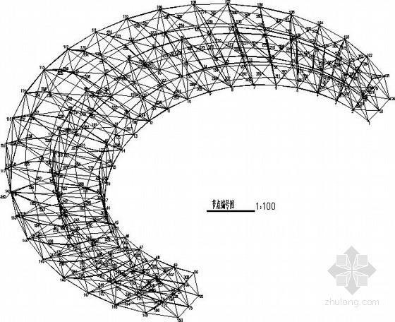 月亮造型钢结构小品结构施工图
