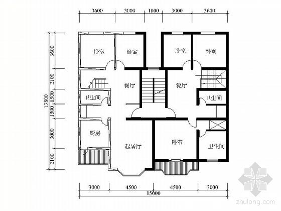 复式一梯两户四室二厅户型图(186/181)