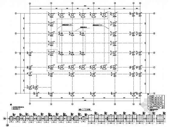 [山东]地上三层框架结构多功能厅结构施工图
