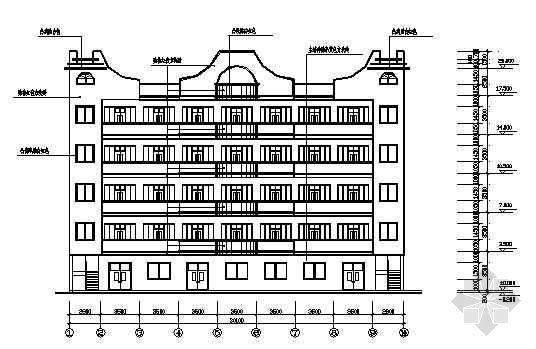 广东某厂区五层宿舍楼建筑结构图纸