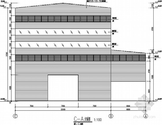带吊车高低跨门式刚架厂房结构施工图