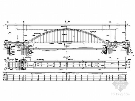 50+280+50m中承式钢管混凝土系杆拱桥设计图(50张)