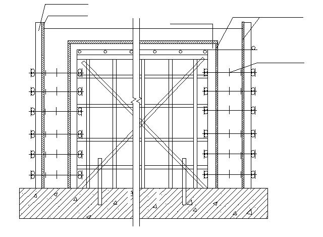外墙、内墙模板及支撑示意图