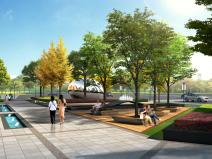 城市街道口袋公园效果图PSD分层素材