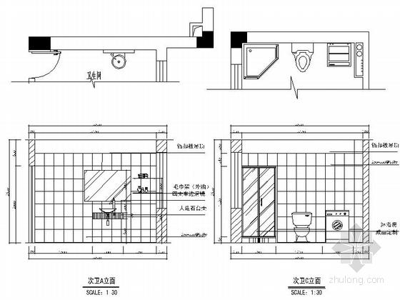 一小套经典三居室家装施工图次卫立面图