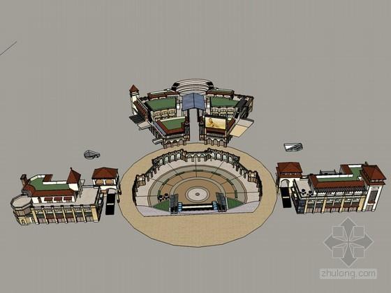 欧式广场建筑SketchUp模型下载