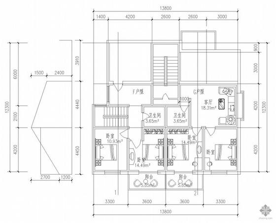 板式多层一梯两户户型图(87/98)