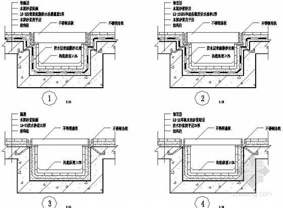 U型槽钢筋构造图资料下载-厨房卫生间结构承槽明沟防水节点构造图
